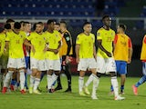 Colombia's Davinson Sanchez with teammates after the match against Paraguay on September 5, 2021