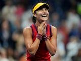 Emma Raducanu celebrates reaching the US Open final on September 10, 2021