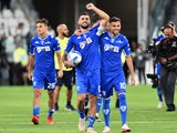 Empoli's Patrick Cutrone celebrates with Nedim Bajrami after the match on August 28, 2021