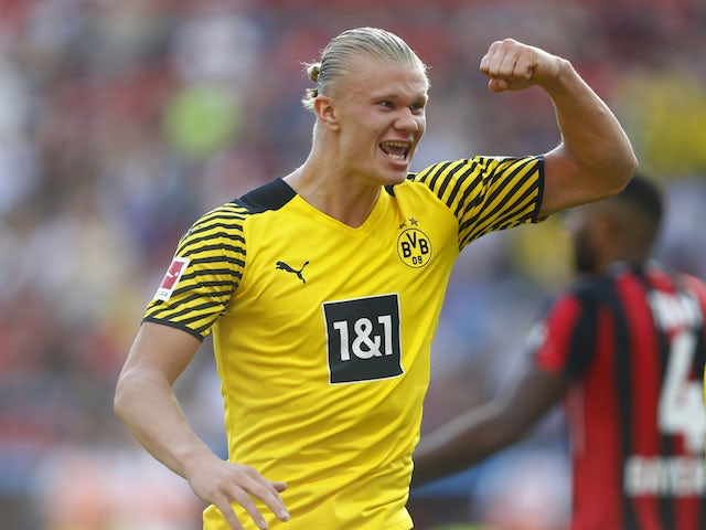 Borussia Dortmund's Erling Braut Haaland celebrates after scoring their second goal on September 11, 2021
