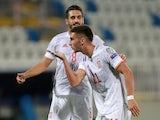 Spain's Ferran Torres celebrates scoring their second goal against Kosovo on September 8, 2021