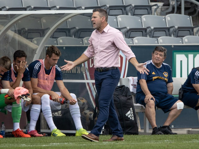 Los Angeles Galaxy head coach Greg Vanney reacts in the first half against the Los Angeles Galaxy at Dick's Sporting Goods Park on September 11, 2021