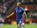 England's Harry Kane celebrates scoring against Poland on September 8, 2021