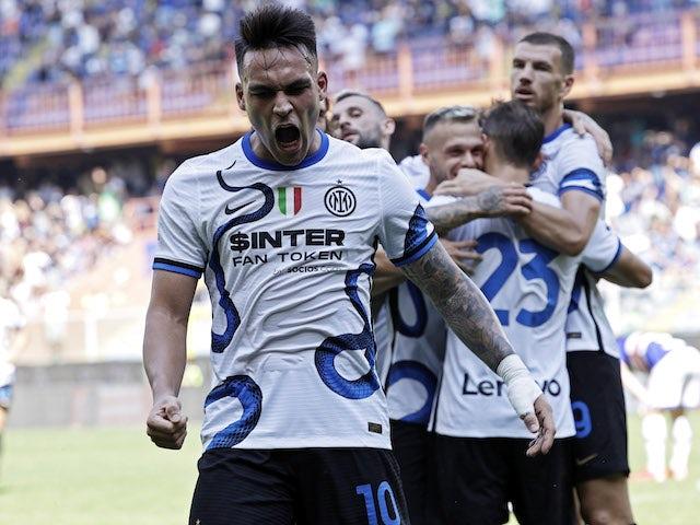 Inter Milan's Lautaro Martinez celebrates scoring their second goal with teammates on September 12, 2021