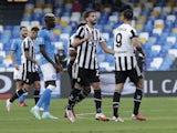Juventus' Alvaro Morata celebrates scoring their first goal with Manuel Locatelli on September 11, 2021