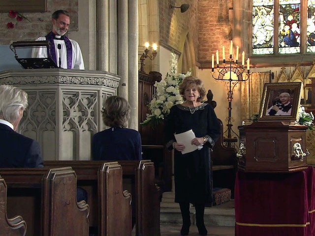 Rita speaks at Norris's funeral on the first episode of Coronation Street on September 24, 2021