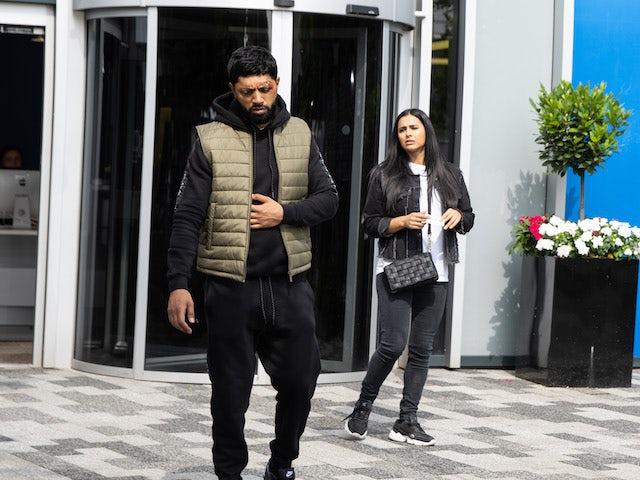 Zeedan and Alya on the second episode of Coronation Street on September 20, 2021