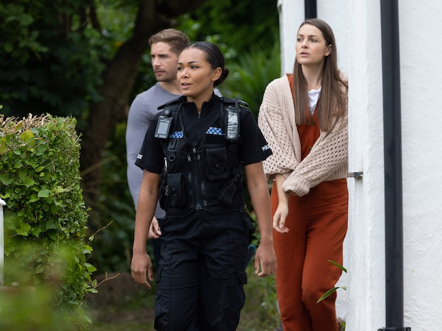 Brody, Sienna and PC Franks on Hollyoaks on September 15, 2021