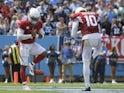 Arizona Cardinals quarterback Kyler Murray pictured with teammate DeAndre Hopkins on September 12, 2021