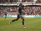 Paris Saint-Germain's (PSG) Kylian Mbappe celebrates scoring their third goal on September 11, 2021