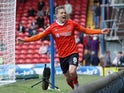 Luton Town's Luke Berry celebrates scoring their second goal on September 11, 2021