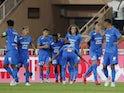 Marseille's Ahmadou Bamba Dieng celebrates scoring their second goal with teammates on September 11, 2021