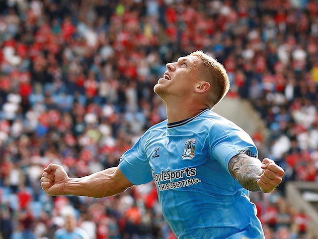 Coventry City's Martyn Waghorn celebrates scoring their second goal on September 11, 2021