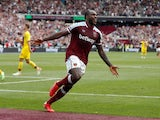 West Ham United's Michail Antonio celebrates scoring their second goal against Crystal Palace on August 28, 2021