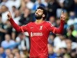 Liverpool's Mohamed Salah celebrates scoring against Leeds United on September 12, 2021