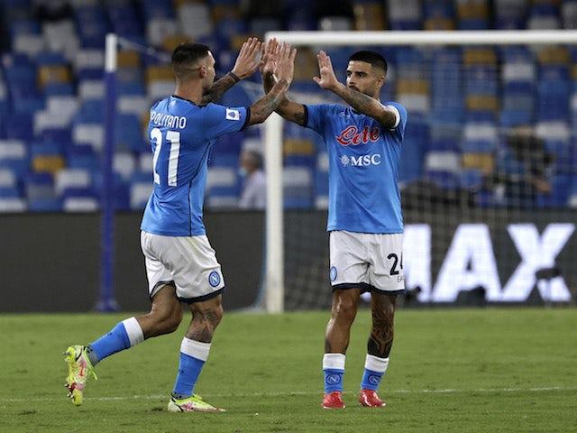 Napoli's Matteo Politano celebrates scoring their first goal with Lorenzo Insigne on September 11, 2021