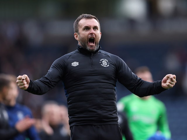 Luton Town's manager Nathan Jones celebrates at the end of the match on September 11, 2021