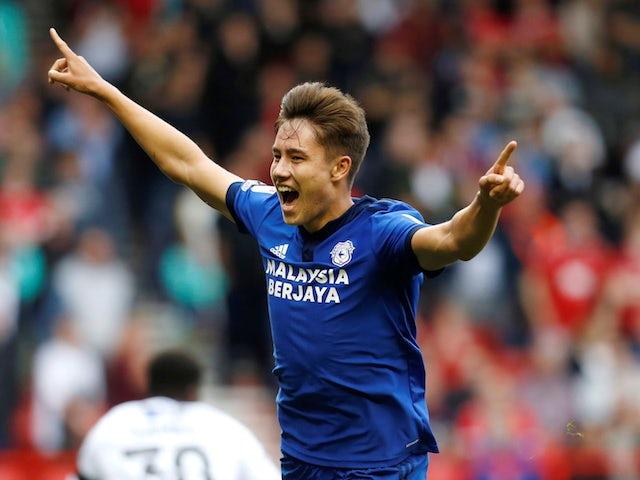Cardiff City's Ruben Colwill celebrates scoring against Nottingham Forest on September 12, 2021