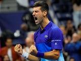 Novak Djokovic celebrates at the US Open on September 11, 2021