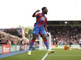 Crystal Palace's Odsonne Edouard celebrates scoring their third goal on September 11, 2021