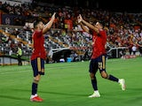 Spain's Pablo Fornals and Pablo Sarabia celebrate on September 5, 2021