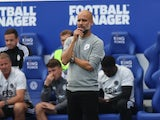Manchester City manager Pep Guardiola looks on on September 11, 2021