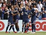 Paris Saint-Germain's (PSG) Ander Herrera celebrates scoring their second goal with teammates on September 11, 2021