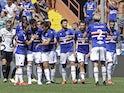 Sampdoria's Maya Yoshida celebrates scoring their first goal with teammates on September 12, 2021