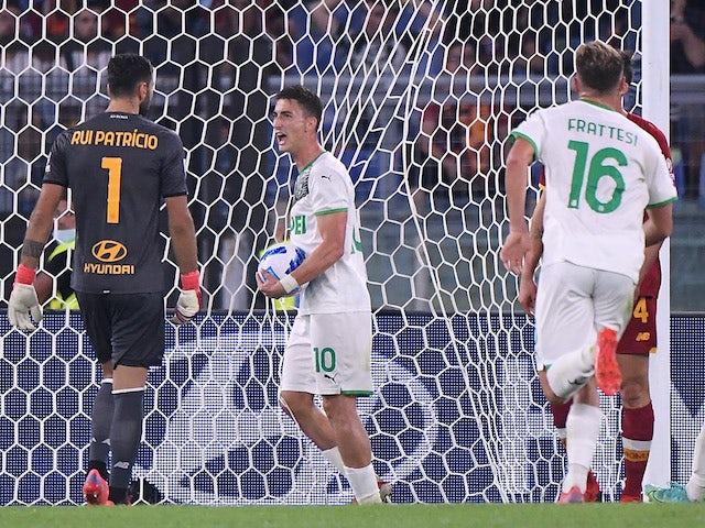 Sassuolo's Filip Djuricic celebrates scoring their first goal on September 12, 2021