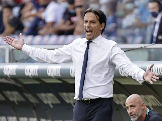 Inter Milan coach Simone Inzaghi reacts on September 12, 2021