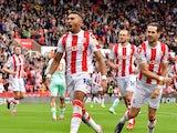 Stoke City's Jacob Brown celebrates scoring their first goal on September 11, 2021