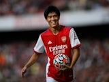Takehiro Tomiyasu in action for Arsenal on September 11, 2021