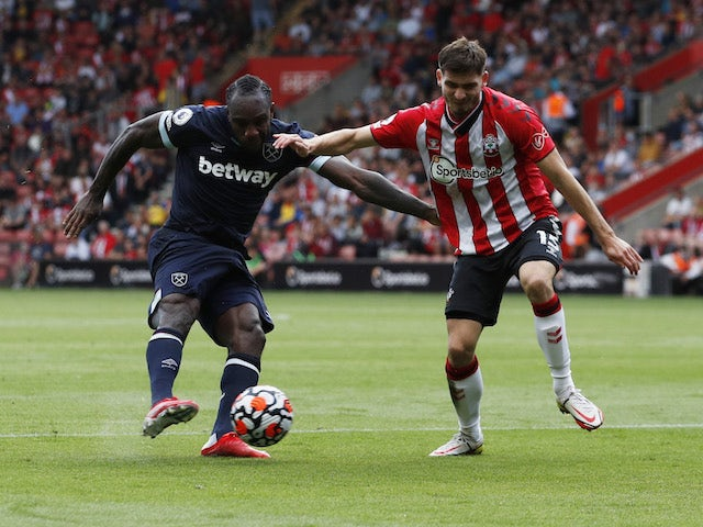 West Ham United's Michail Antonio in action with Southampton's Romain Perraud on September 11, 2021