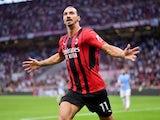 AC Milan's Zlatan Ibrahimovic celebrates scoring their second goal on September 12, 2021
