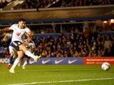 Fulham's Aleksandar Mitrovic scores against Birmingham City on September 15, 2021