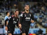 Juventus Alvaro Morata celebrates scoring their third goal on September 14, 2021