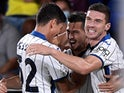 Atalanta's Remo Freuler celebrates scoring their first goal with teammates on September 14, 2021