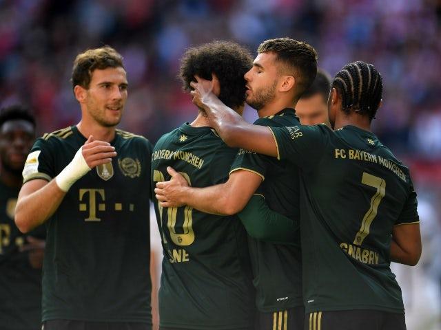 Bayern Munich's Leroy Sane celebrates scoring their first goal against VfL Bochum in the Bundesliga on September 18, 2021