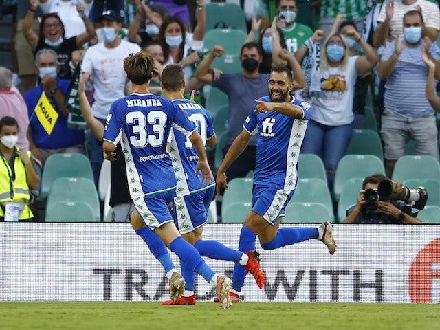 Real Betis' Borja Iglesias celebrates scoring against Celtic on September 16, 2021