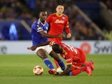 Leicester City's Boubakary Soumare in action with Napoli's Kalidou Koulibaly on September 16, 2021