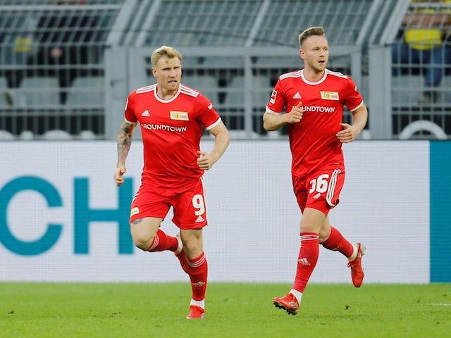 Union Berlin's Andreas Voglsammer celebrates scoring their second goal on September 19, 2021