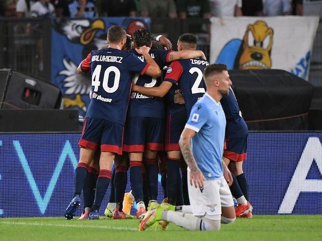 Cagliari's Keita Balde celebrates scoring their second goal with teammates on September 19, 2021