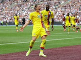 Crystal Palace's Conor Gallagher celebrates scoring against West Ham United in the Premier League on August 28, 2021