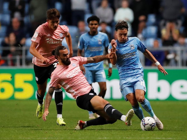 Coventry City's Callum O'Hare in action with Cardiff City's Marlon Pack on September 15, 2021