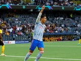 Manchester United's Cristiano Ronaldo celebrates scoring their first goal against Young Boys on September 14, 2021