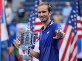 Daniil Medvedev celebrates winning the US Open on September 12, 2021