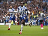 Brighton & Hove Albion's Danny Welbeck celebrates scoring against Leicester City on September 19, 2021
