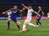 West Ham United's Declan Rice scores against Dinamo Zagreb on September 16, 2021