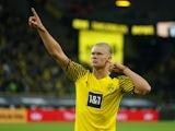 Borussia Dortmund's Erling Braut Haaland celebrates scoring their fourth goal on September 19, 2021