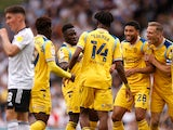 Reading's Ovie Ejaria celebrates after scoring their first goal against Fulham in the Championship on September 18, 2021